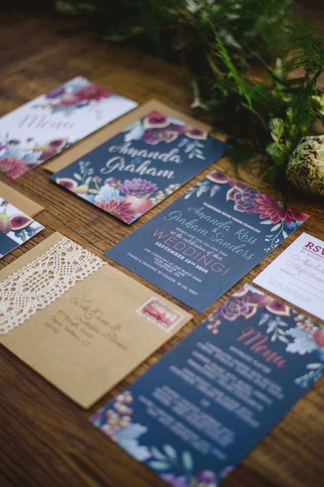 navy and floral wedding invitation suite by Alicia's Infinity