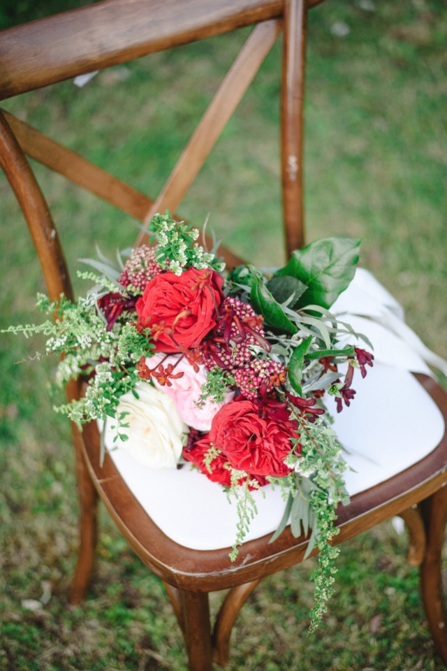 wedding bouquet in red and deep red