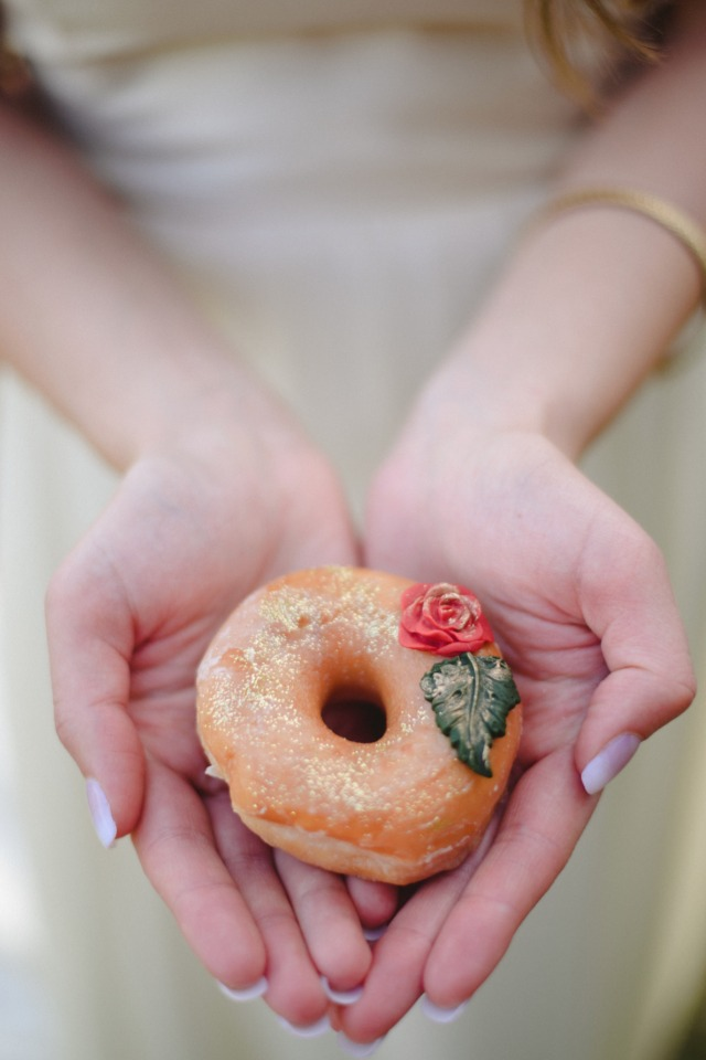 rose frosted wedding donuts