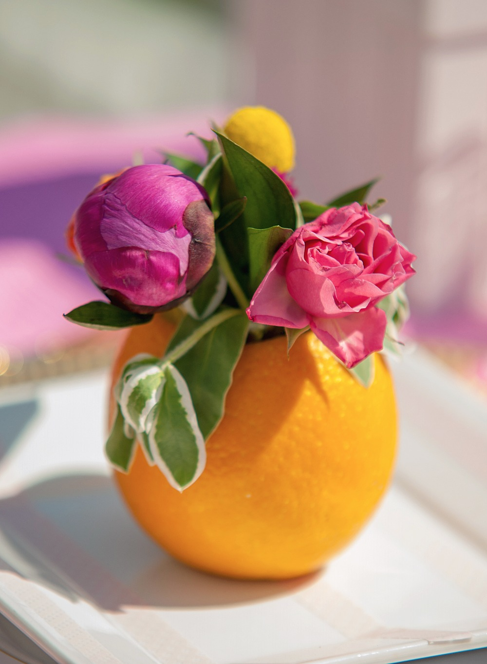 Cute orange vase placesetting