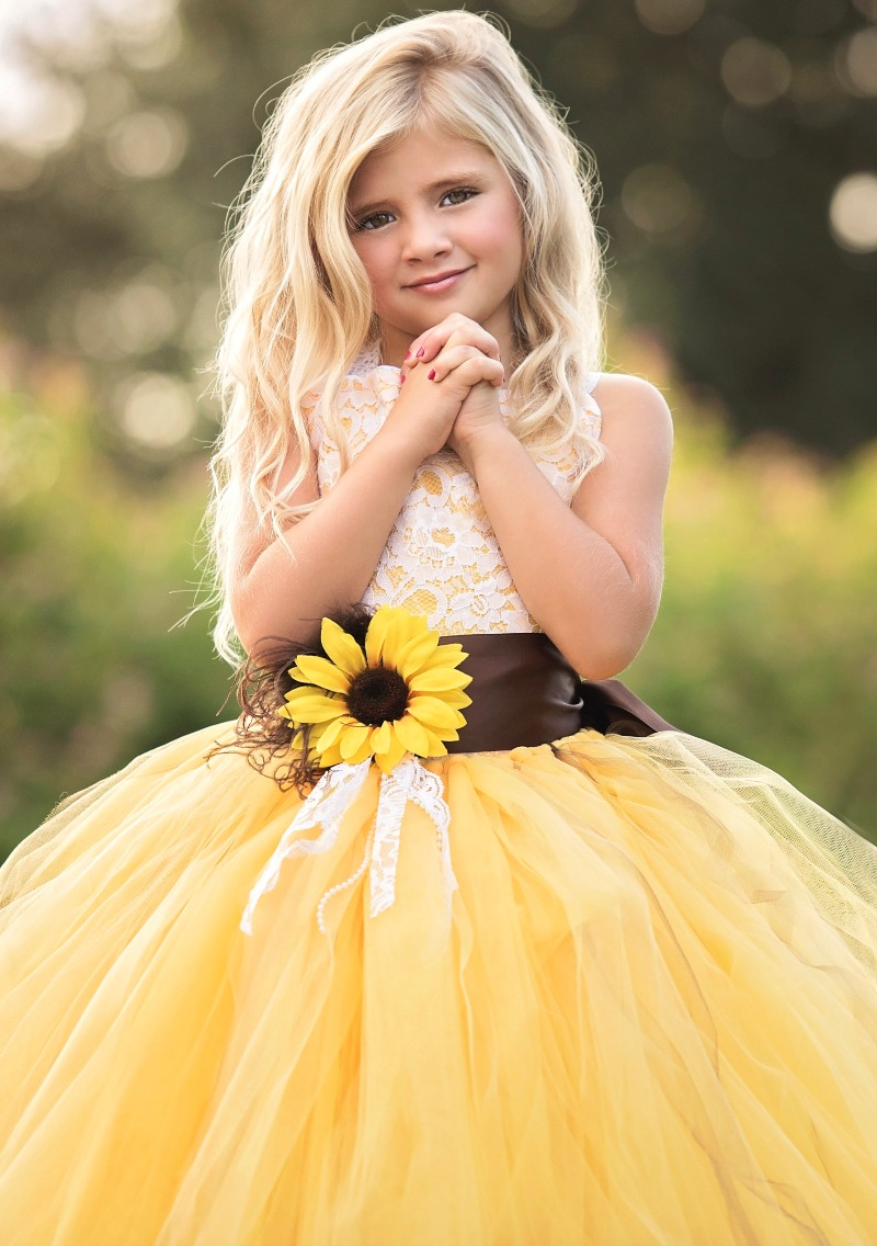 f121bfd700b03 Posted By Baby 2B Weddings. Sunflower Flower Girl Dress ...