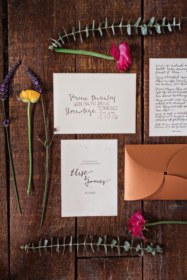 hand written elopement announcments