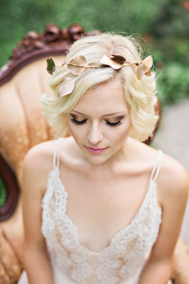 copper leaf bridal halo