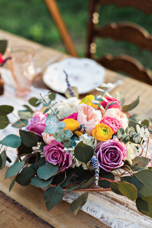low profile vintage centerpiece idea
