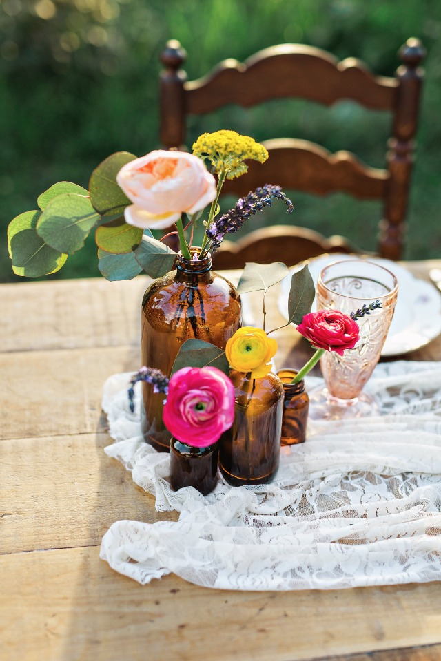 vintage and colorful wedding centerpiece