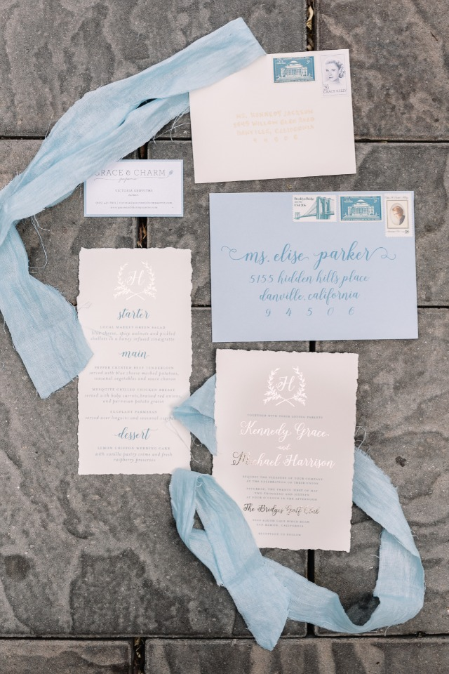 light blue and silver wedding invitation suite