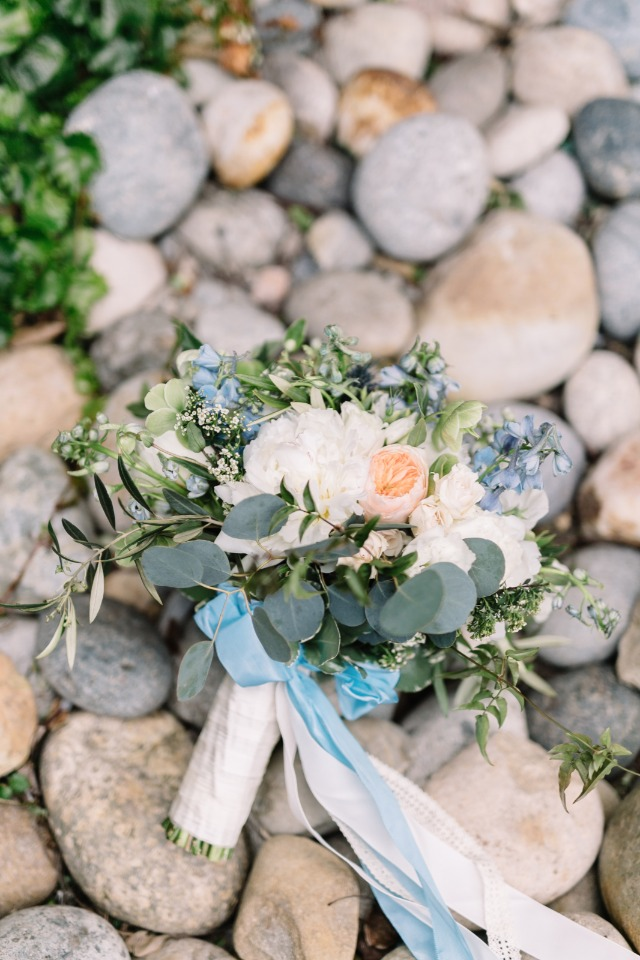 light blue white and peach bouquet