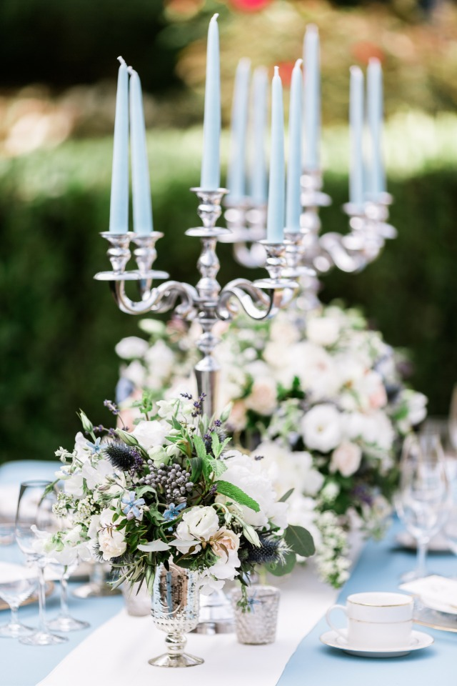 silver and light blue table decor