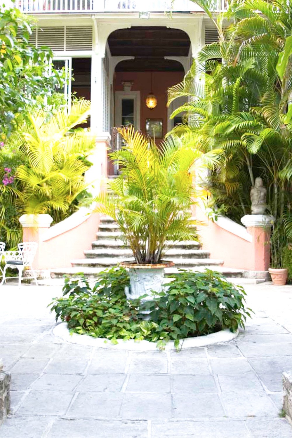 beautiful green garden stairwell wedding venue