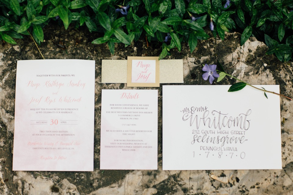 hand calligraphy style wedding invitations