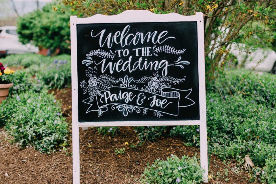 chalkboard calligraphy wedding sign