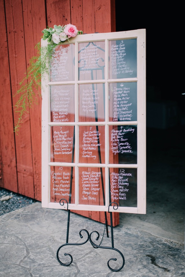 seating assignments on an old framed window