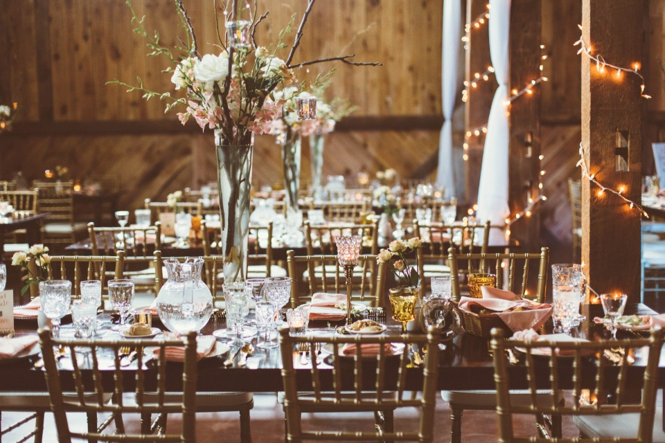 romantic pink and gold wedding reception