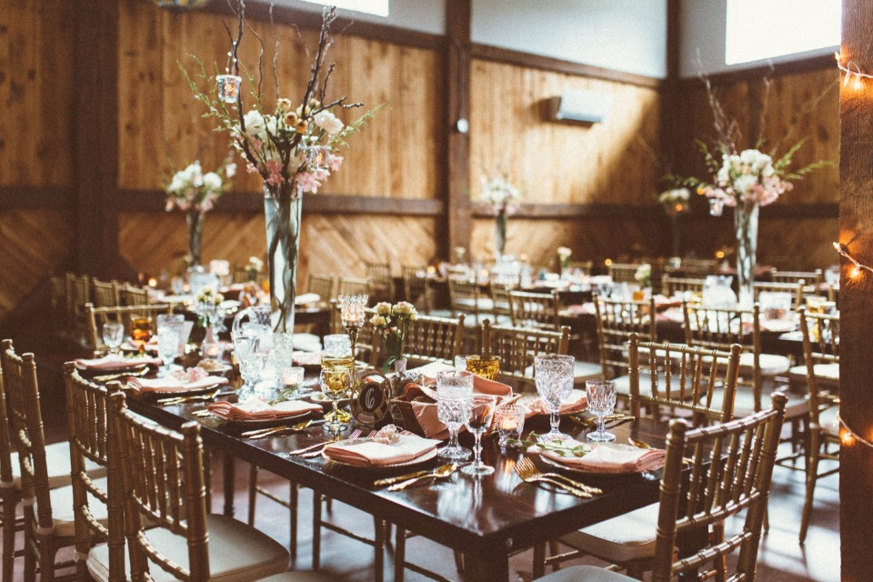 gold and pink wedding reception decor