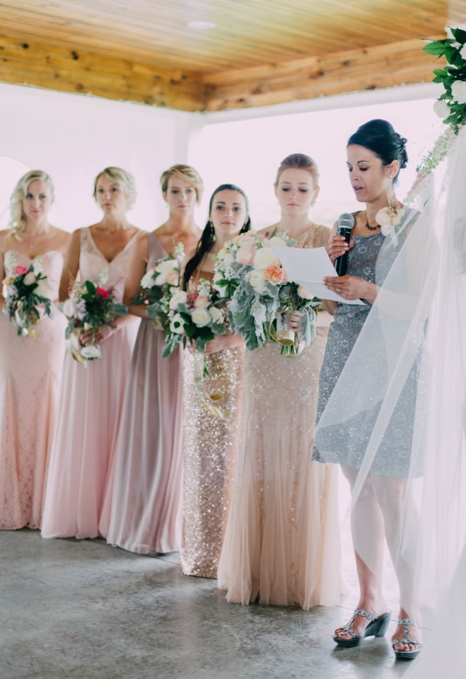 bridesmaids in pink and gold