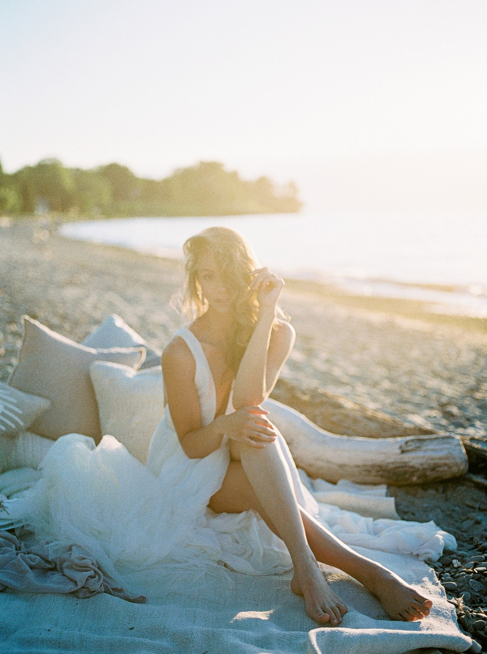 Beach bridal portrait