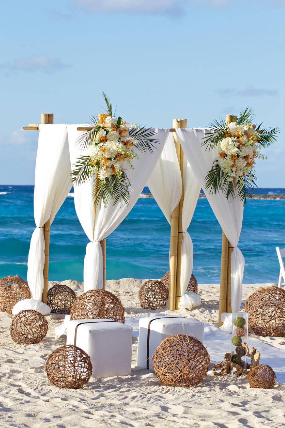 wedding reception on the beach in the Bahamas