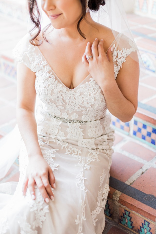 glamorous wedding gown with off the shoulder straps