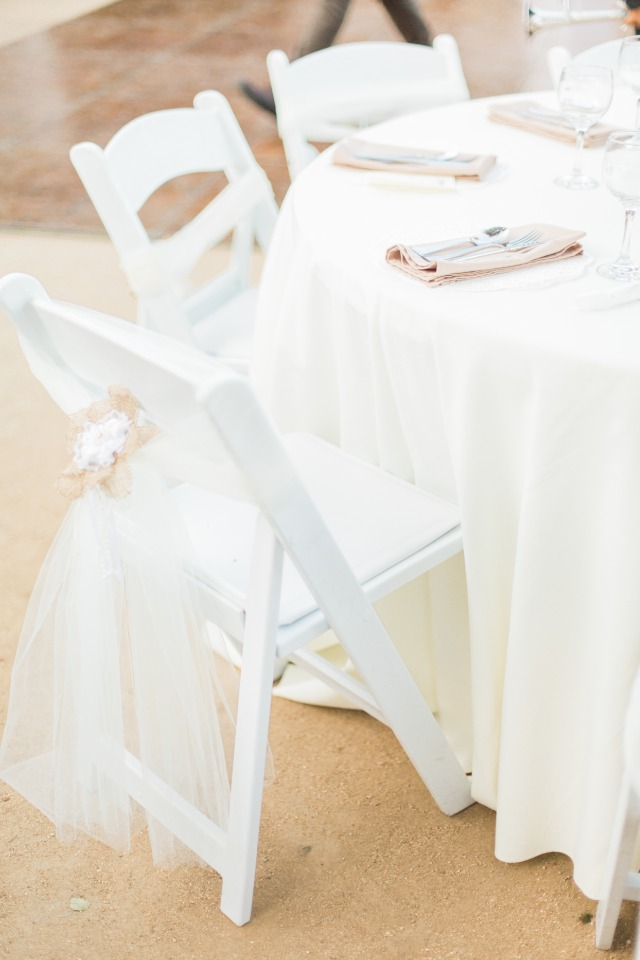 tulle and burlap seat decor