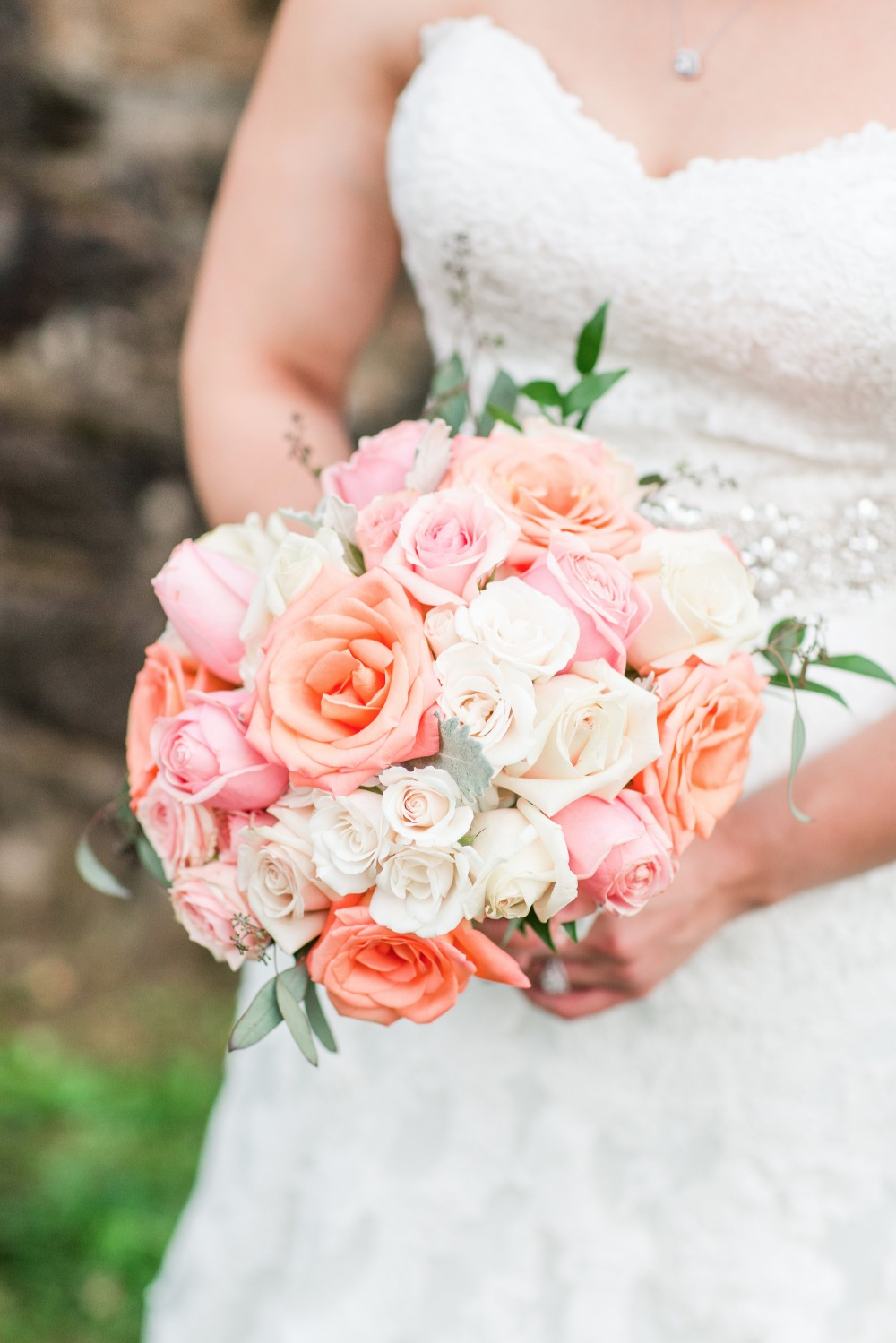 Pastel colored rose bouquet