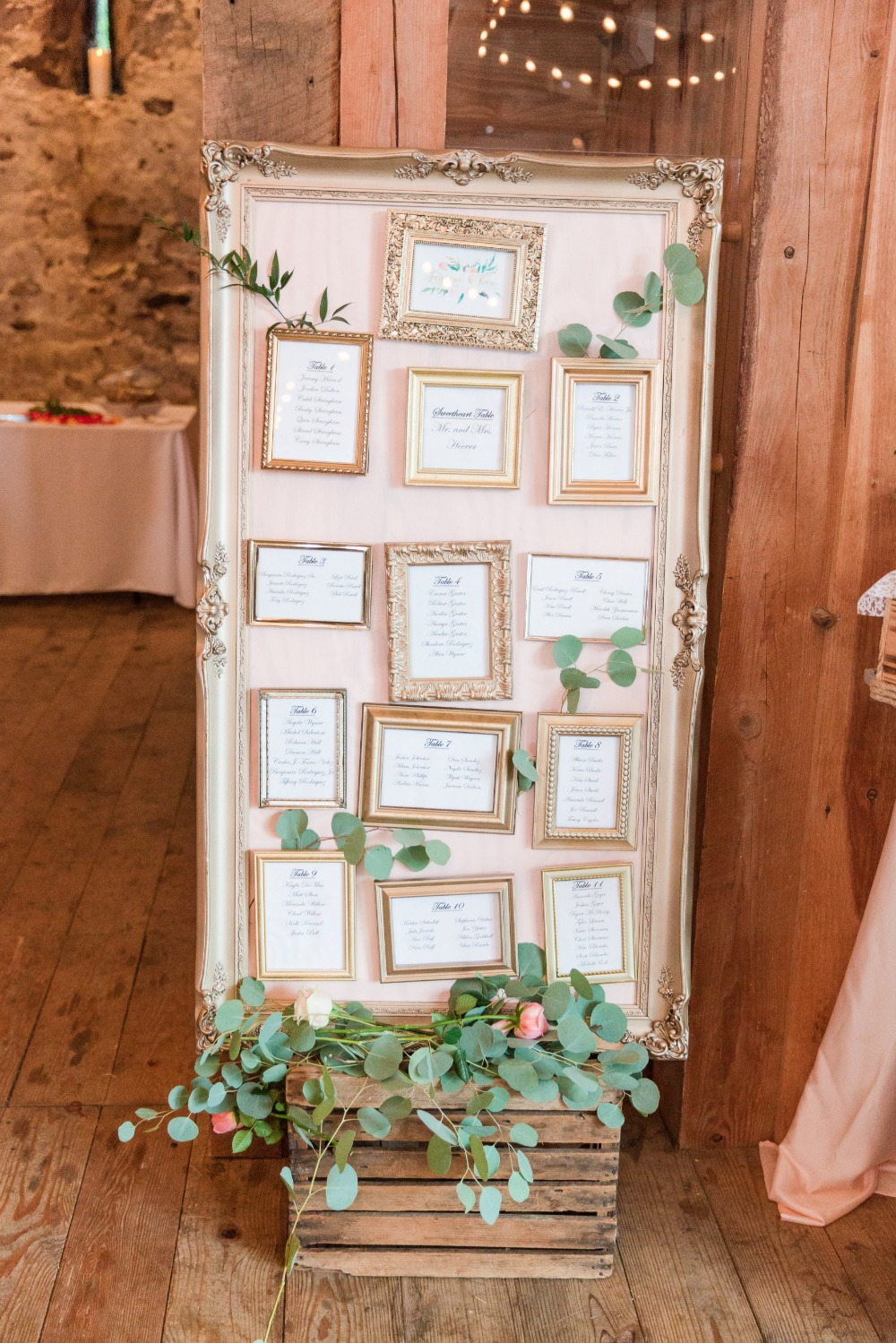 Gold framed seating chart idea