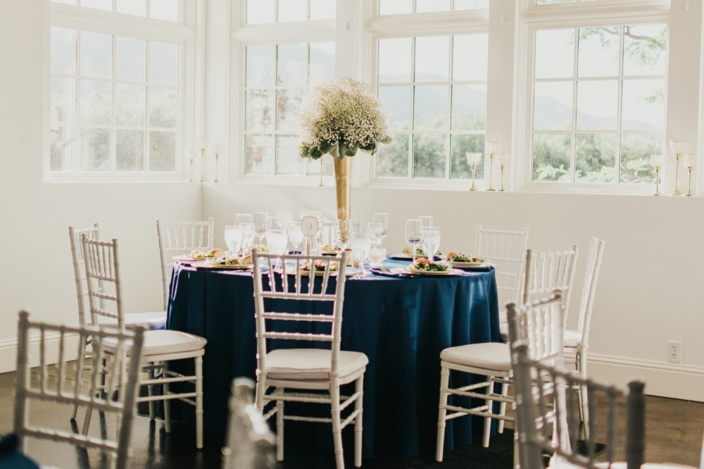 Elegant gold and navy reception
