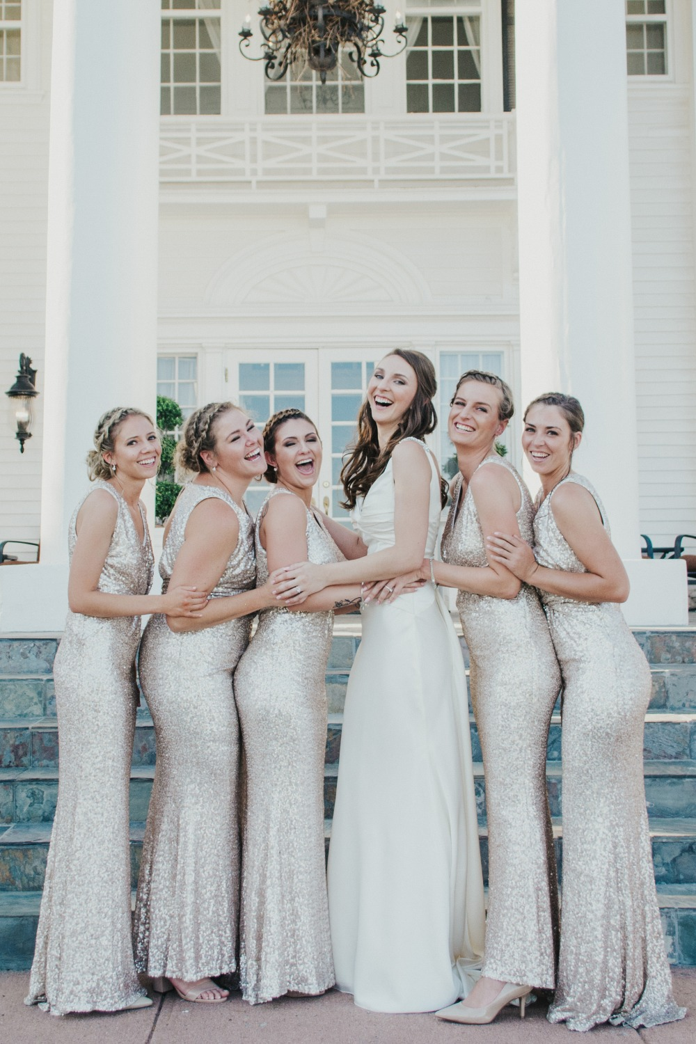 Sparkly gold bridesmaid dresses