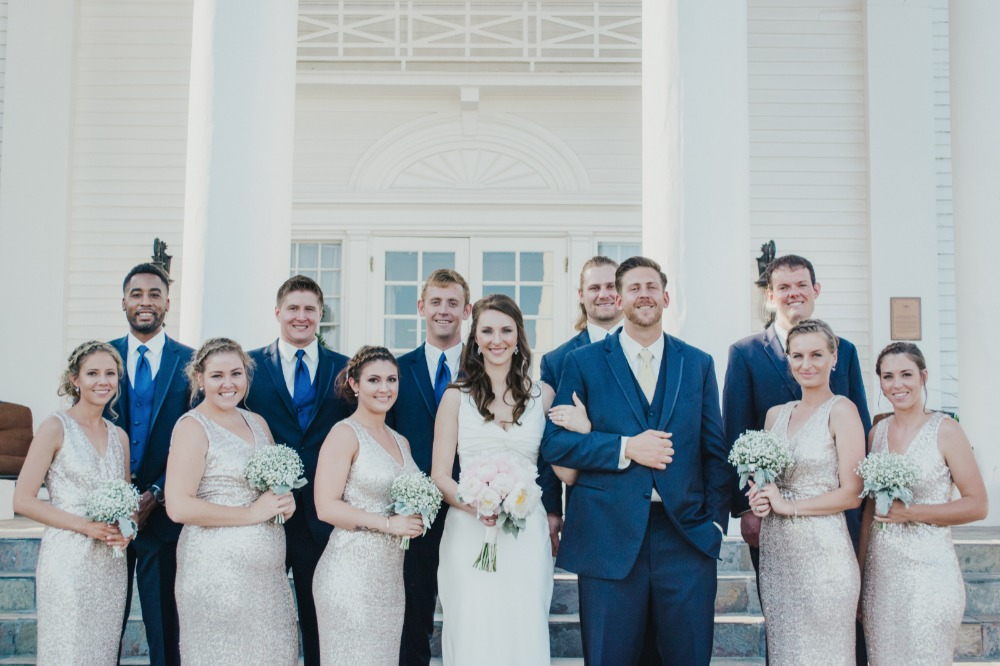 Gold and navy wedding party