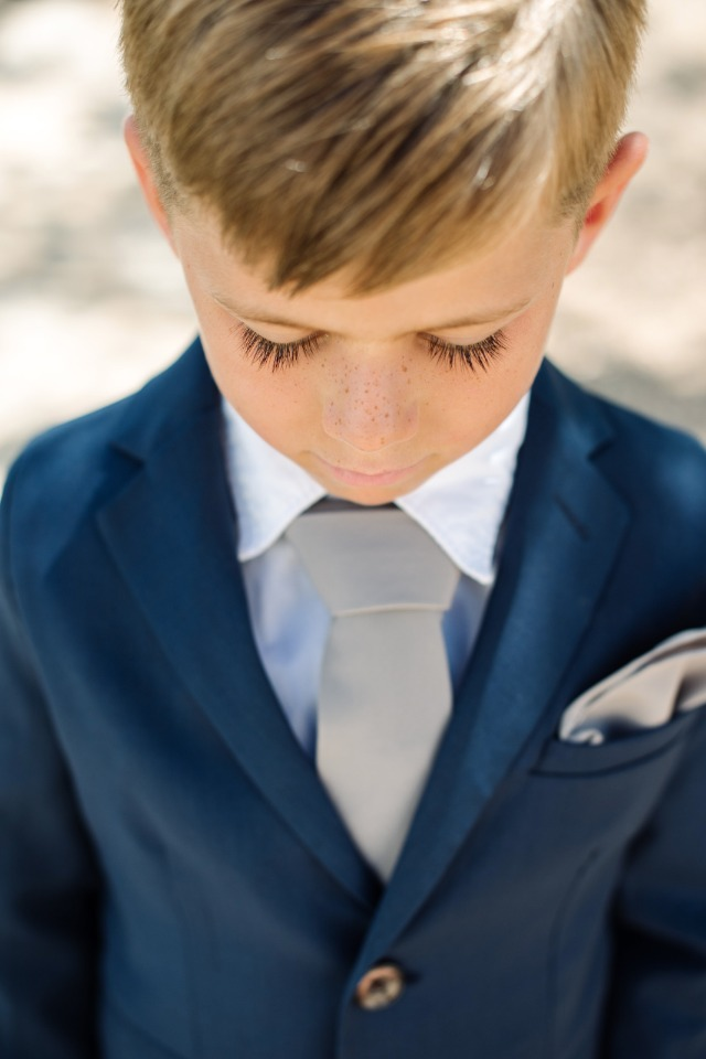 cute ring bearer in navy and grey