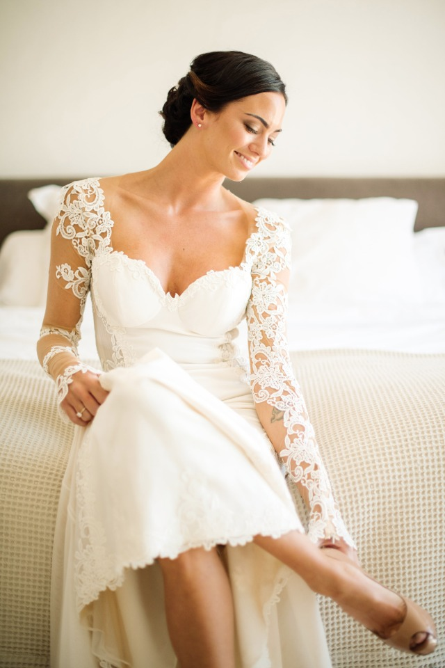 classic and chic bride in long sleeve dress