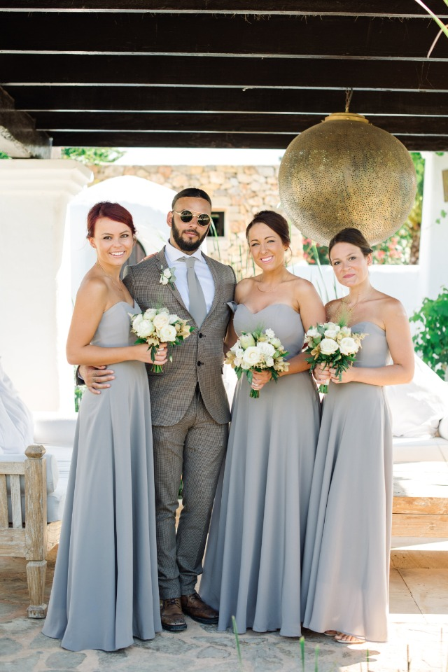 bridal party in grey