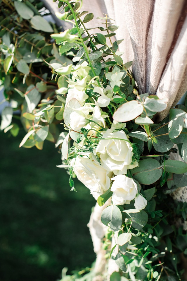 white rose and eucalyptus garland