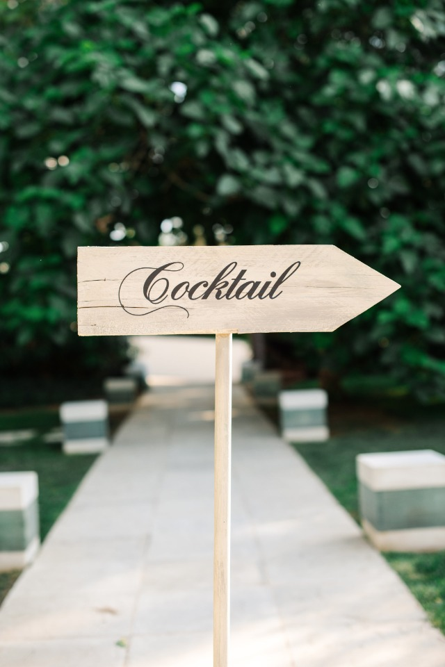 wooden cocktail wedding sign