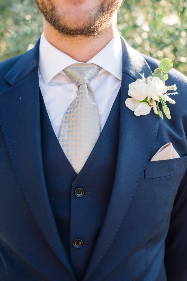 silver and navy groom look