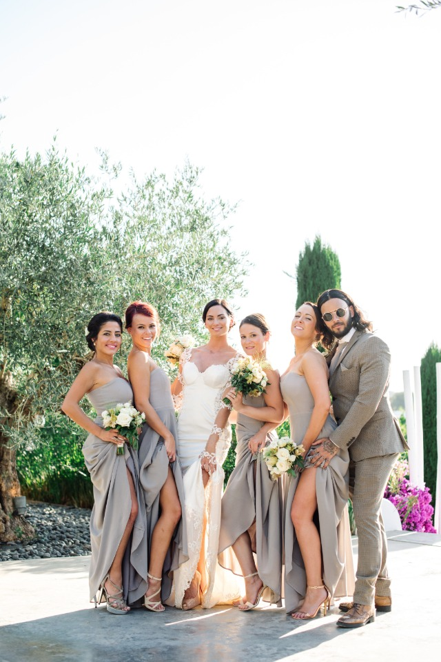 bridal party showing a little leg