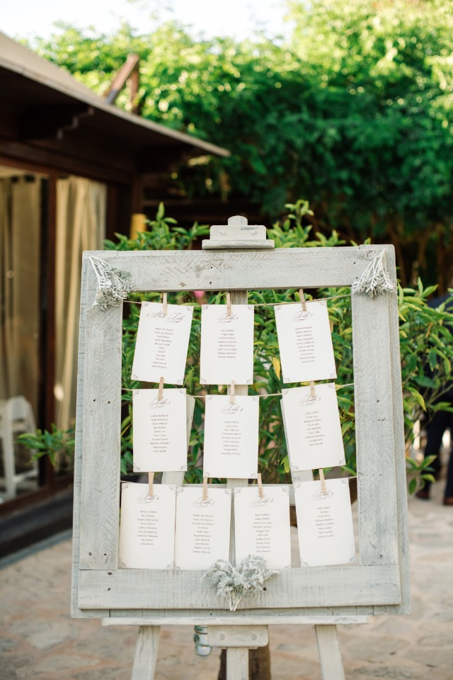 rustic framed wedding reception seating assignment display