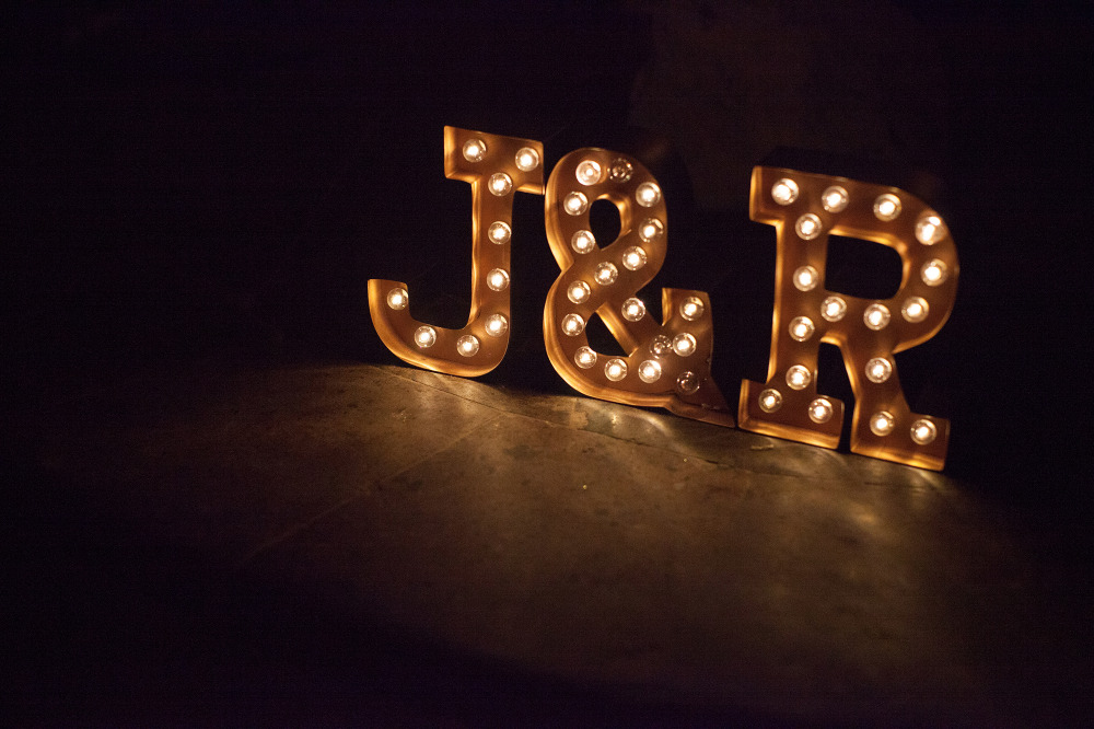 wedding monogram marquee light sign
