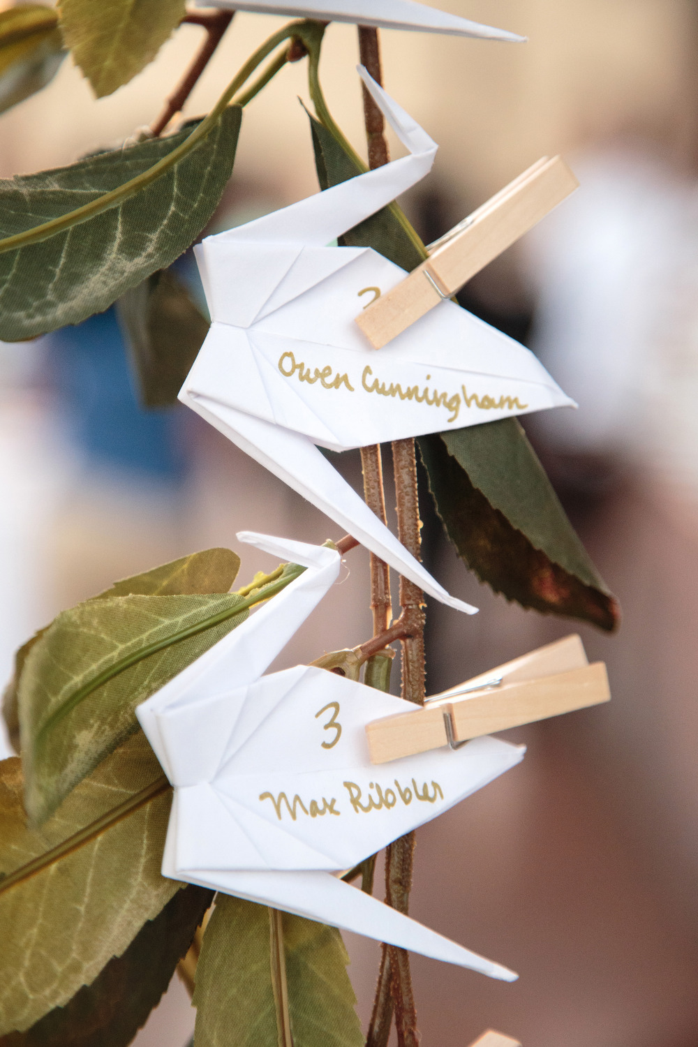 origami crane wedding escort cards