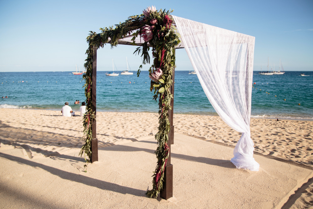 beach wedding ceremony chuppah
