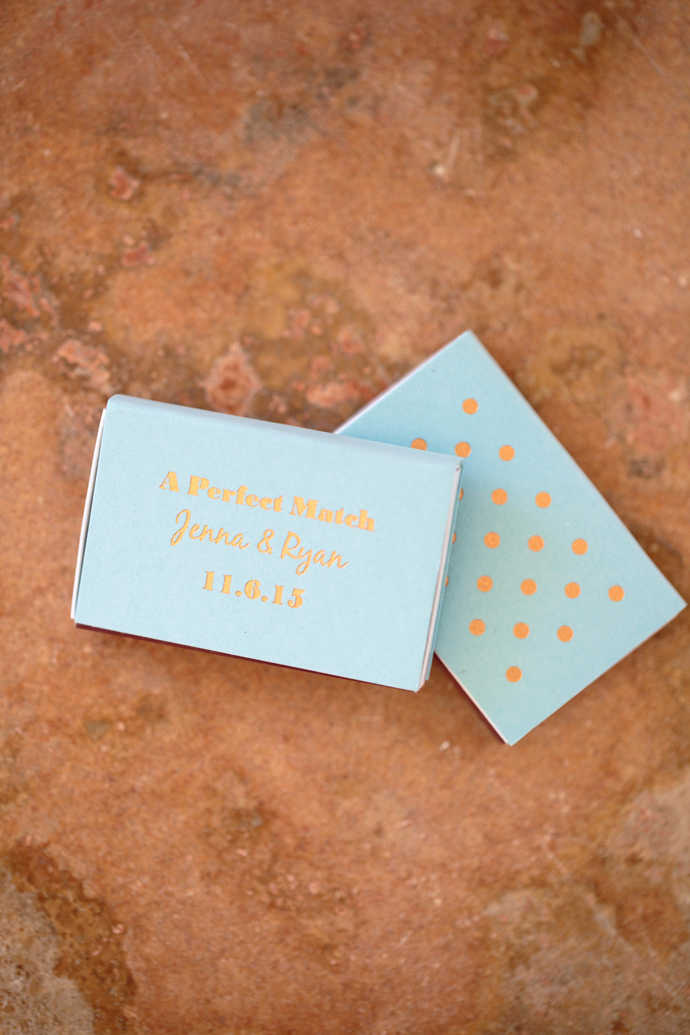 blue and gold polka dot wedding matches