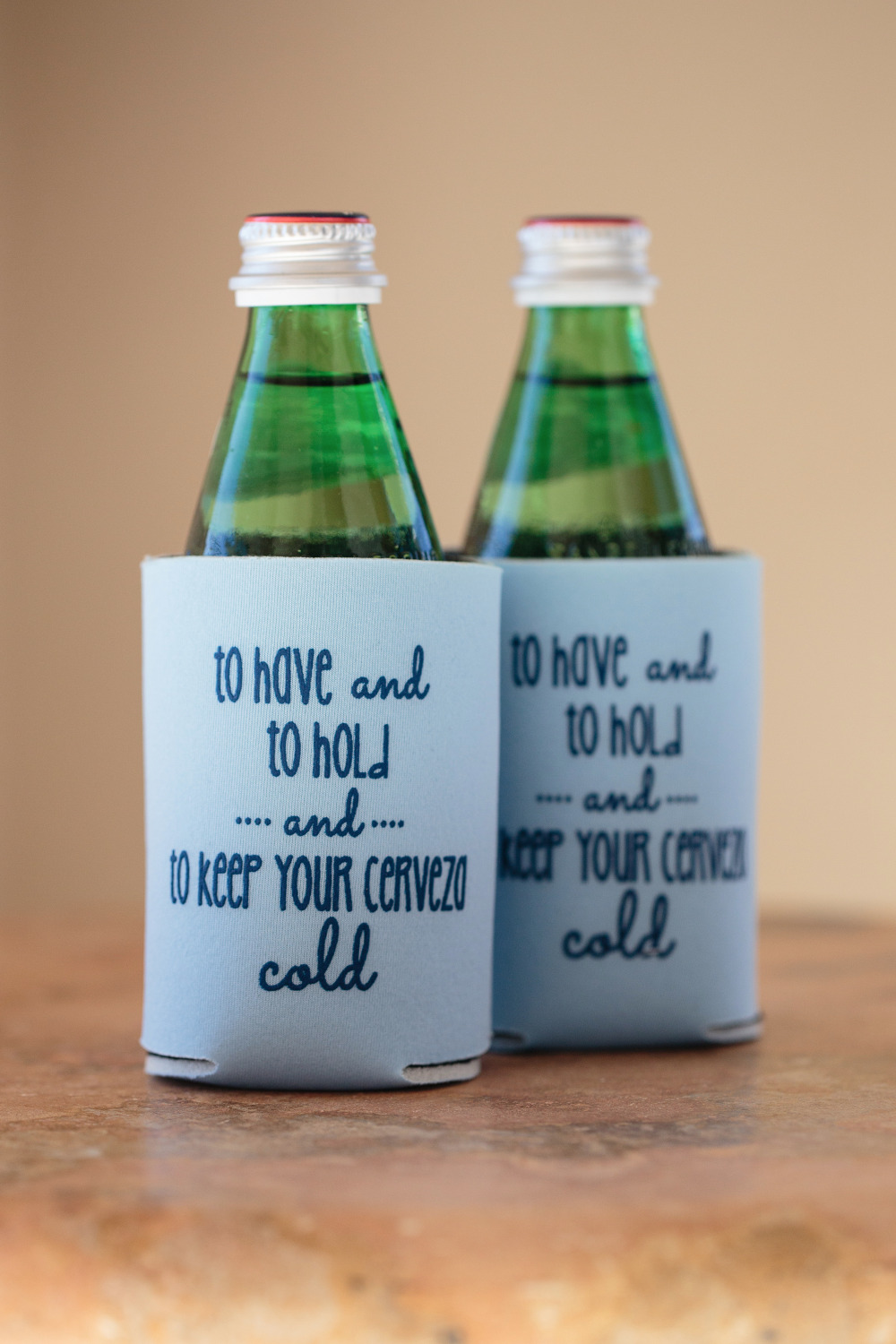 blue wedding favor cozies
