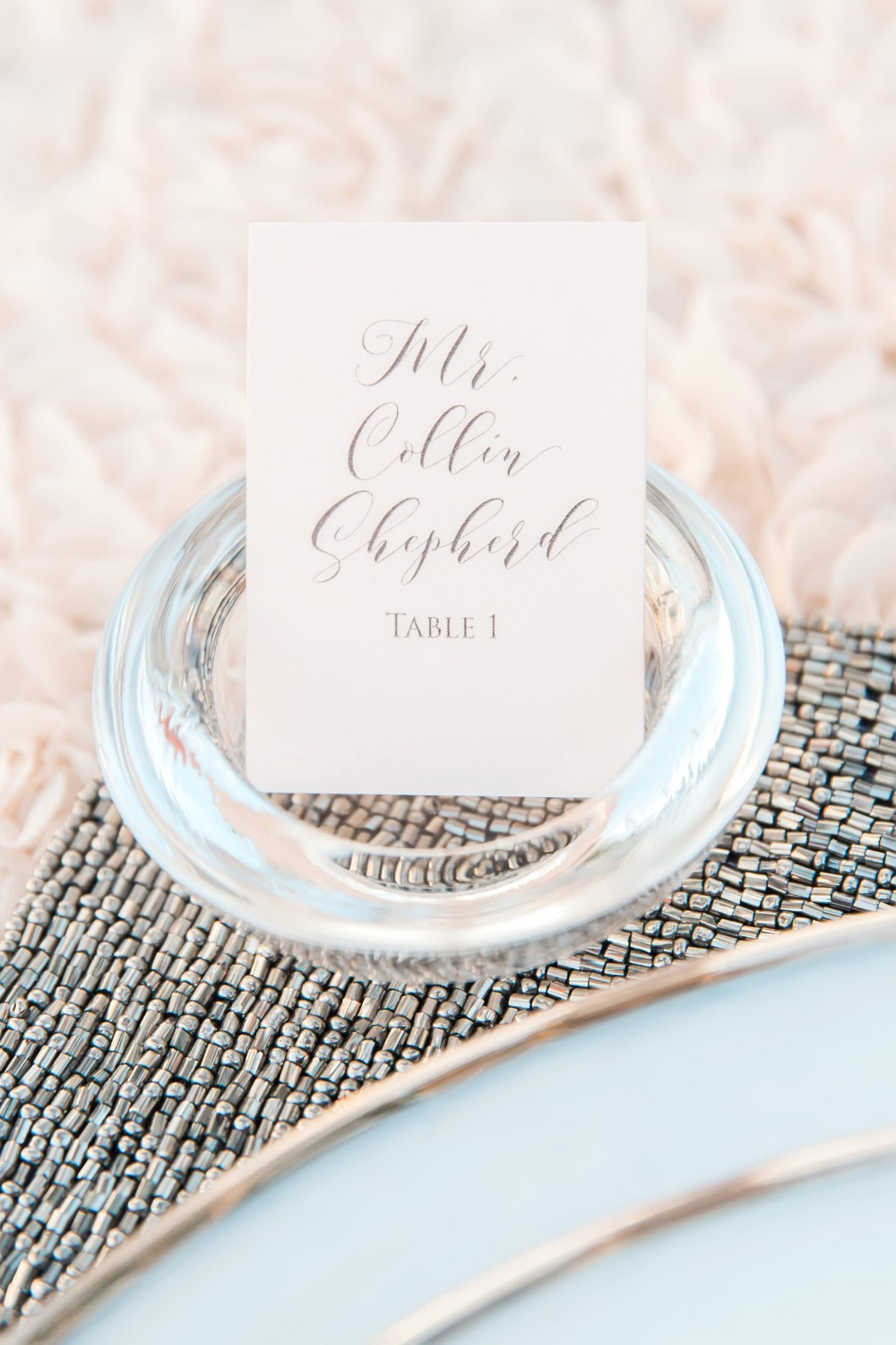 Blush place card with calligraphy