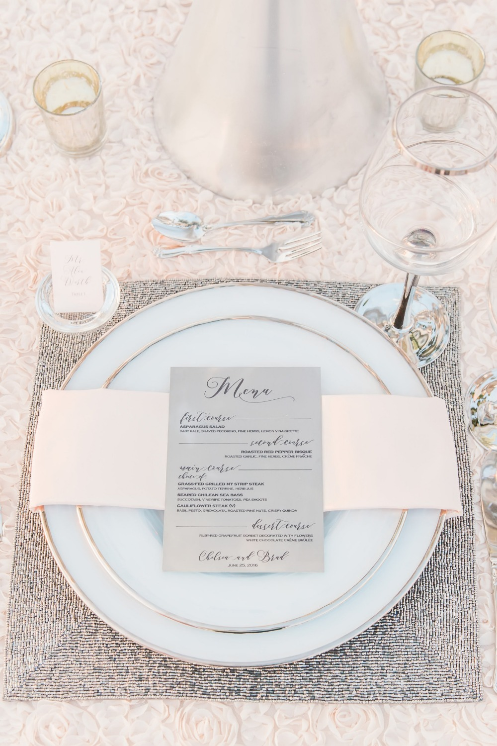 Platinum and blush table decor