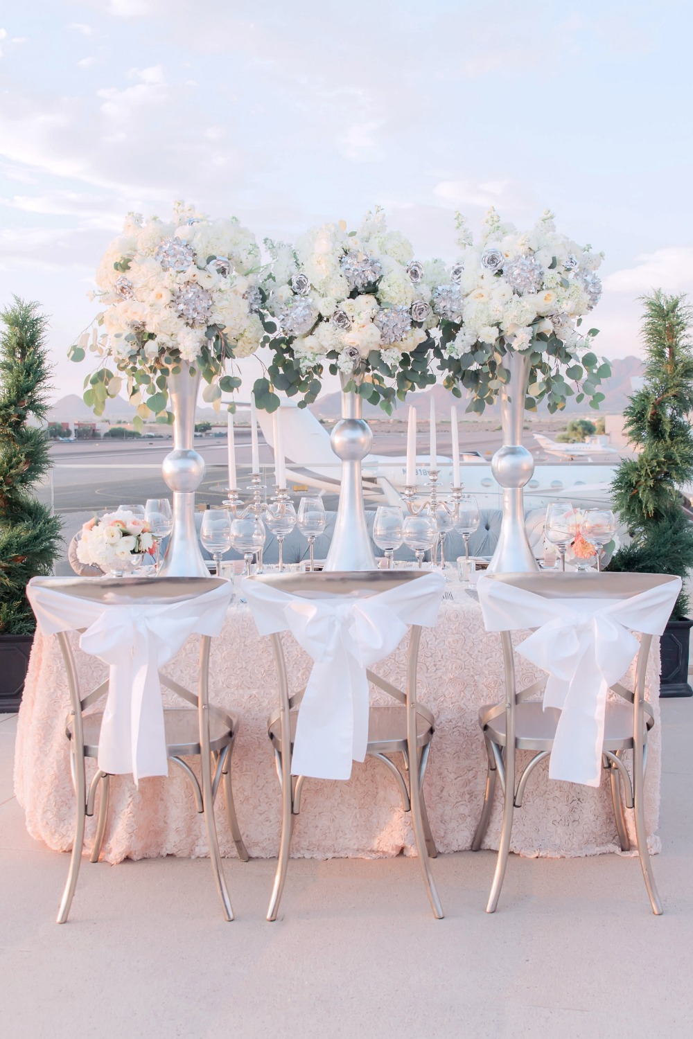 Contemporary silver and blush reception