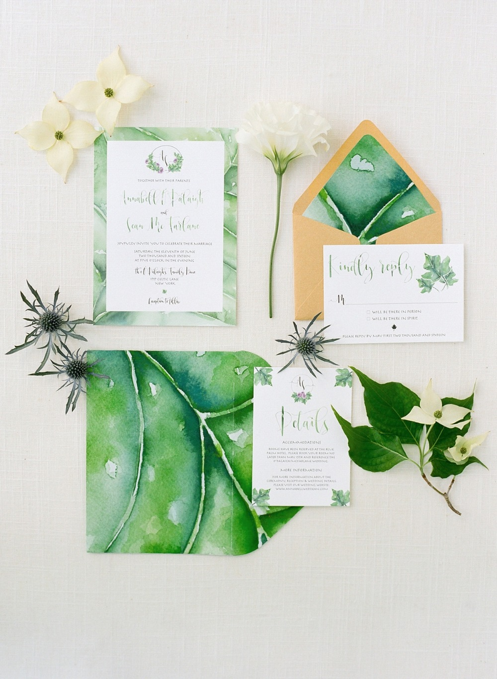 Leafy green water color invitation suite