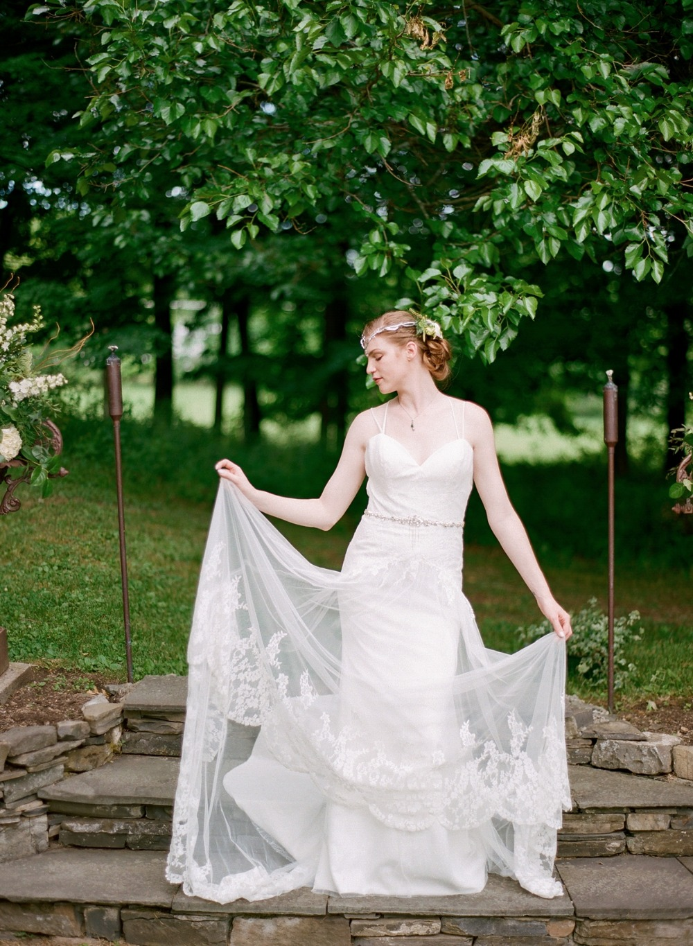 Strappy lace wedding gown