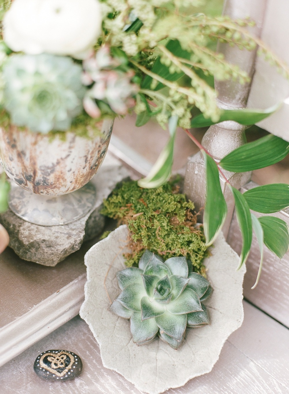 Moss and succulent table decor