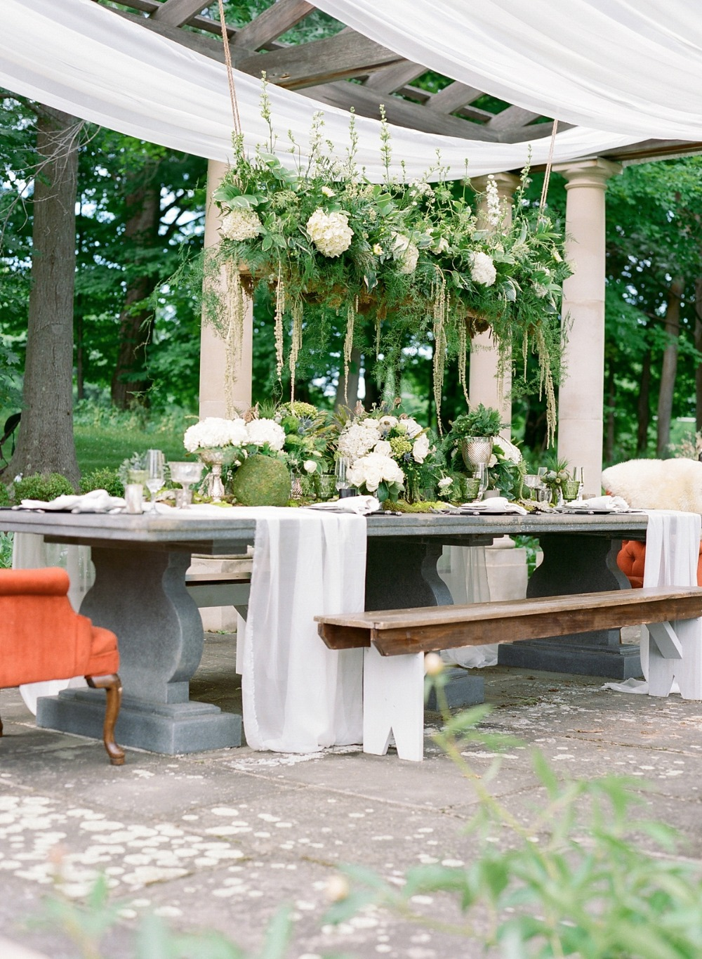 Beautiful natural tablescape with stone table