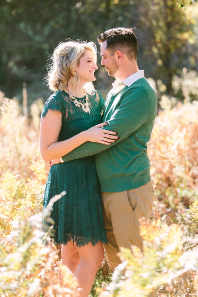 gold and green engagement shoot