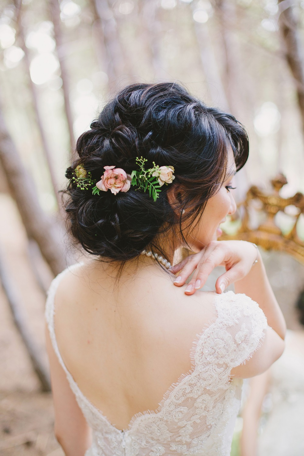 Wedding hair with florals